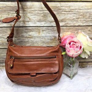 Vintage Fossil Tan Brown Leather Shoulder Bag Hobo